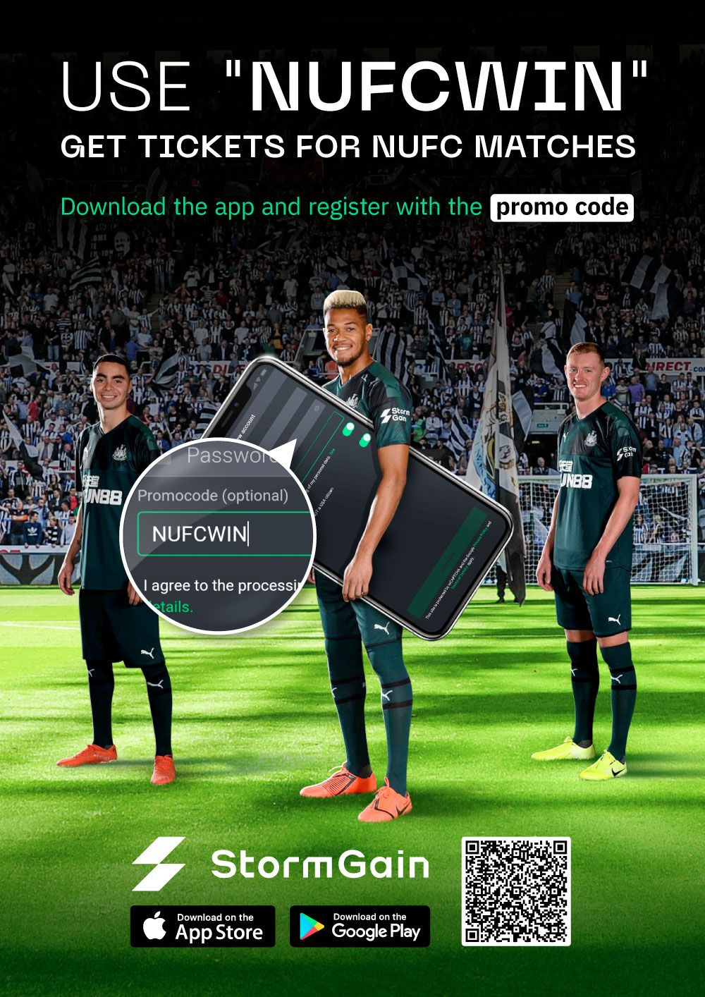 Enter promo code NUFCWIN when registering for your StormGain account