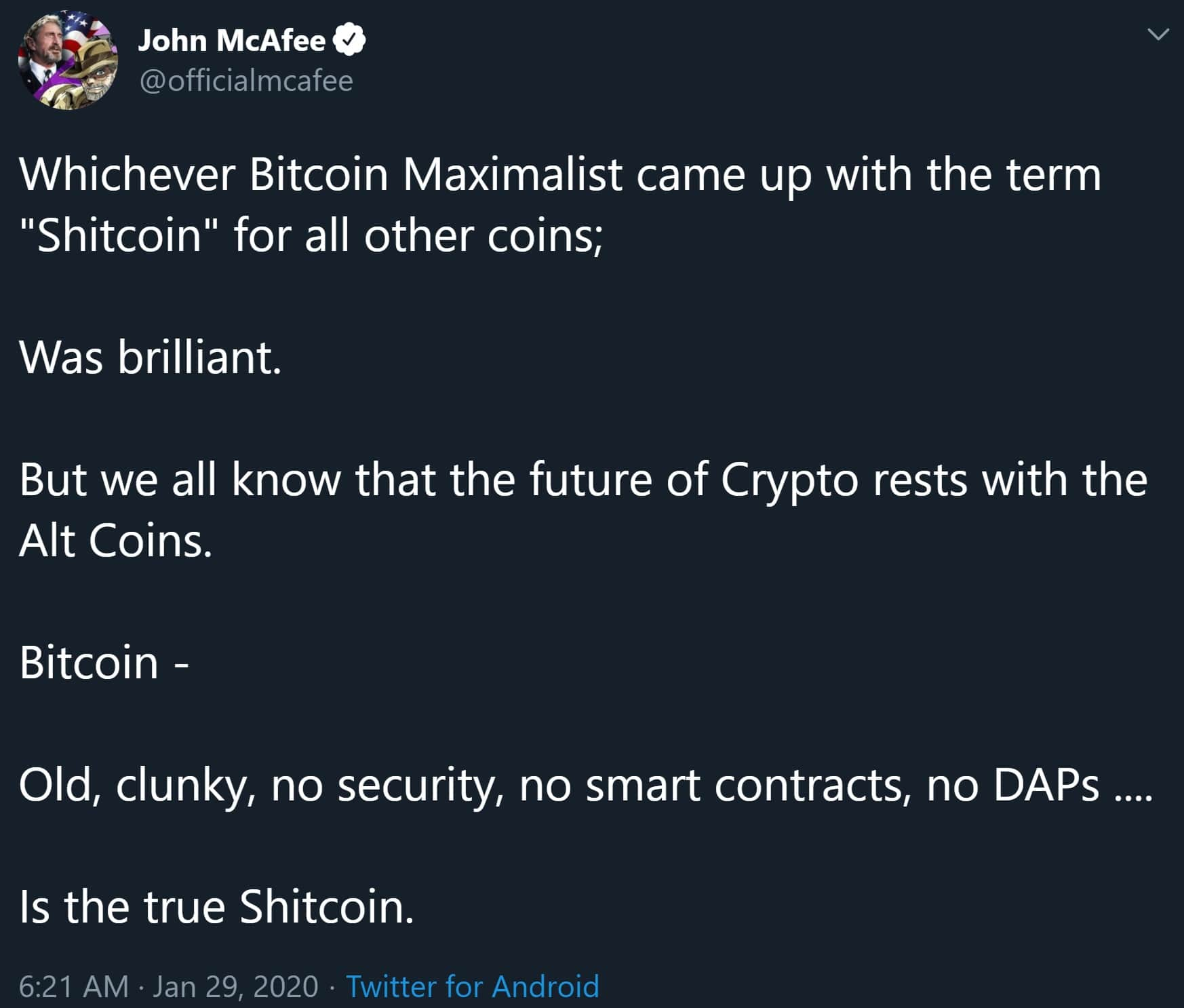 McAfee about bitcoin price