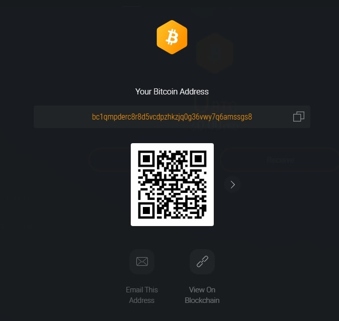 A Bitcoin address in an Exodus software wallet