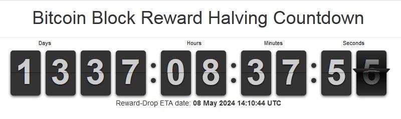 Bloquer le compte à rebours de la réduction de moitié de la récompense