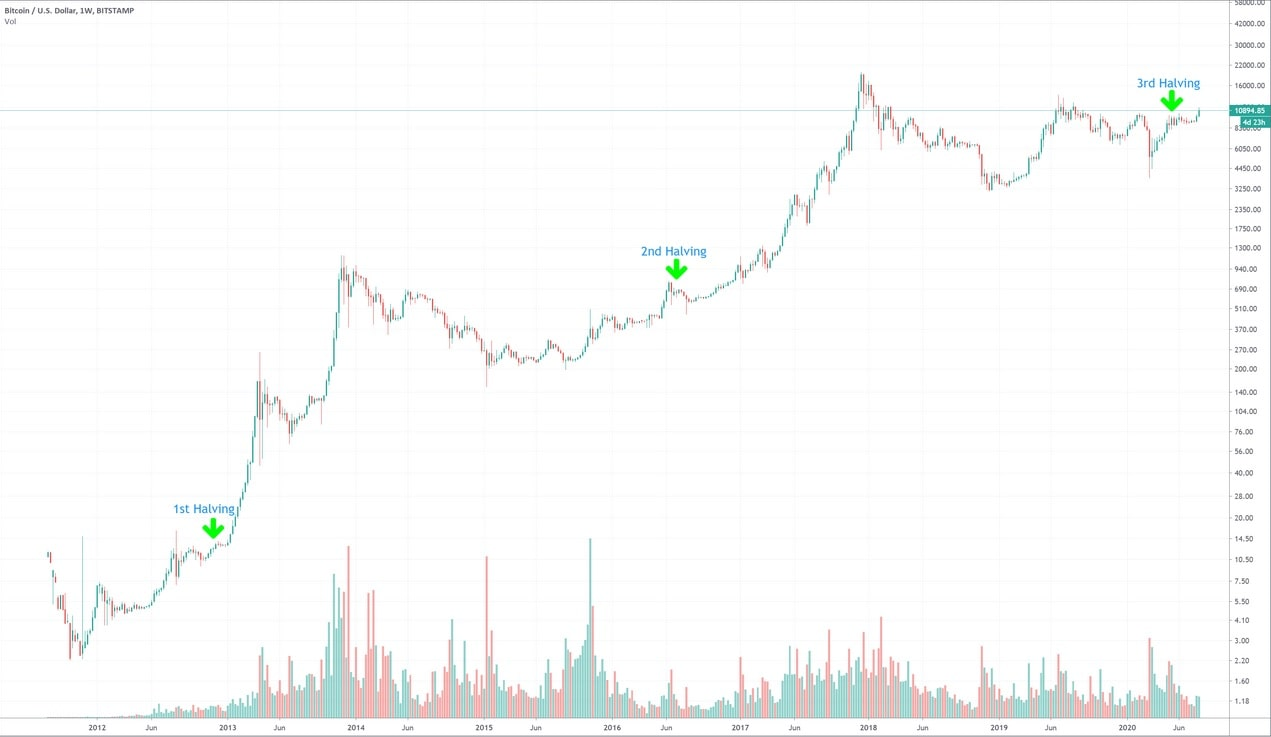 Bitcoin halvings and BTC price fluctuations