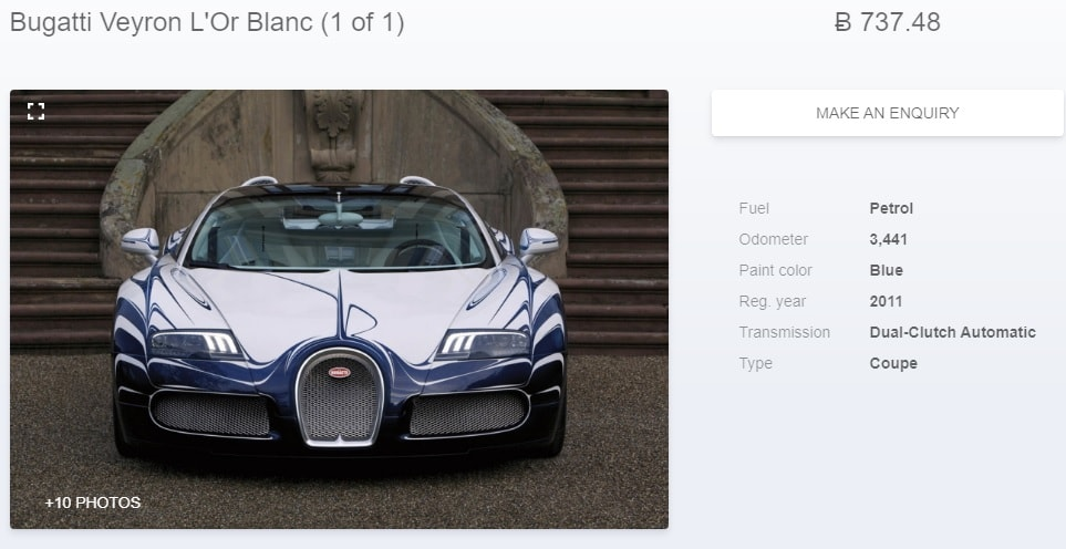 A website selling Bugatti Veyron for 737 Bitcoins.