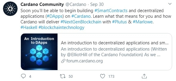 Cardano's announcement that it would launch decentralised applications and smart contracts