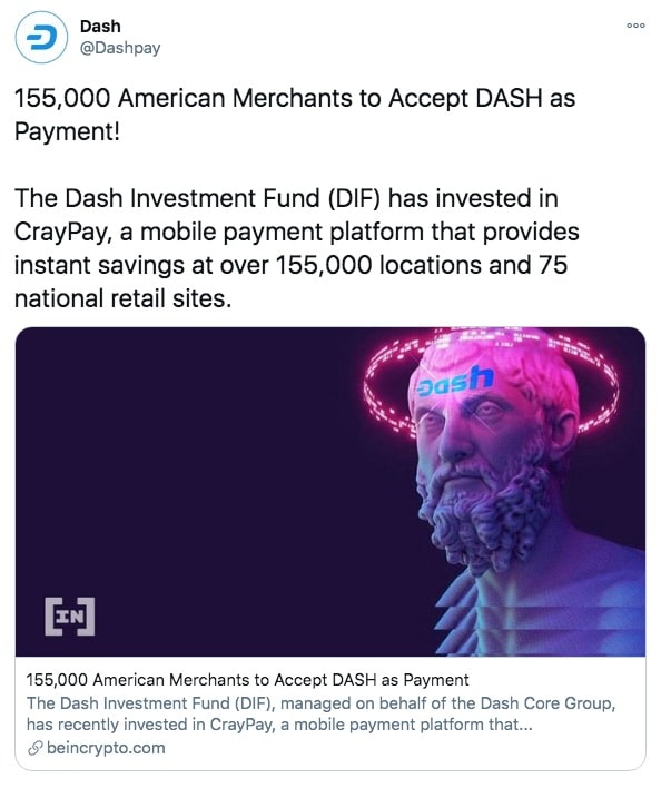 Over 155,000 American merchants accept Dash as a payment method.