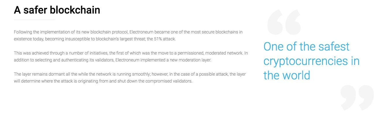 Electroneum's developers state that their blockchain is one of the safest.