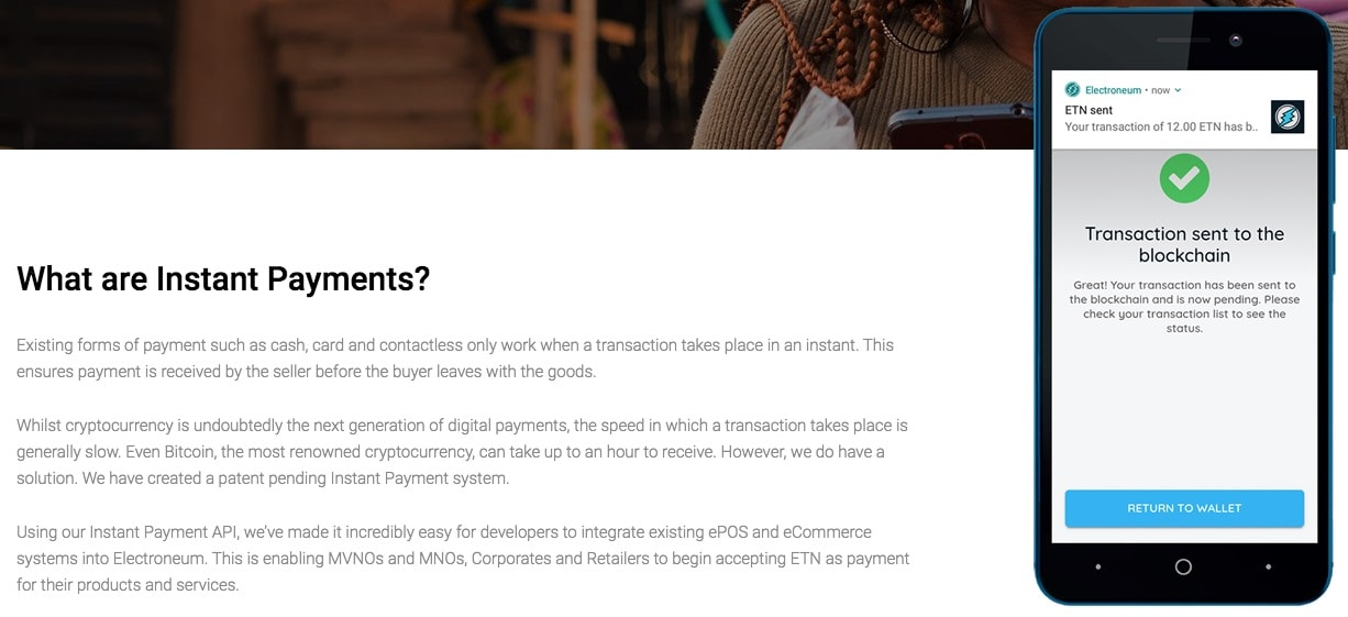 Electroneum offers instant payments for its clients.