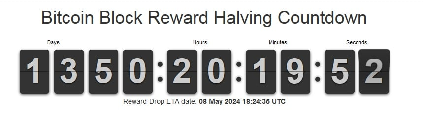 Bitcoin block reward halving countdown