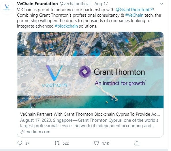 VeChain partners with Grant Thornton.