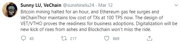 VeChain founder's tweets on the network's low cost and high TPS.